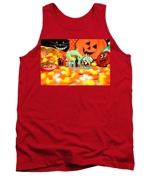 Death Takes His Kids Trick Or Treating Tank Top by Lon Casler Bixby