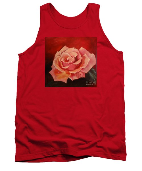 Tank Top featuring the painting Dew Drops On Pink Rose by Jenny Lee