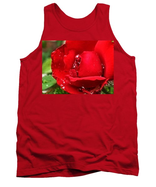 Dew Drops On Red Tank Top