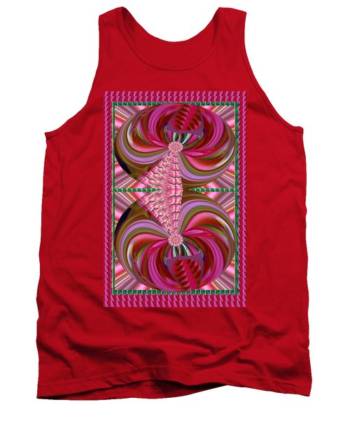 Digital Fine Art Graphics Sparkle Flame Flowers Joined By Pink Floral Knot Love Bond Lingerie Tank Top