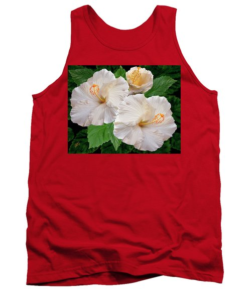 Dreamy Blooms - White Hibiscus Tank Top