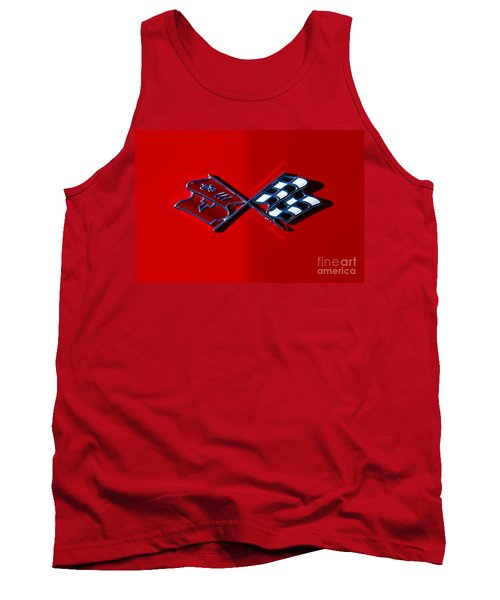 Early C3 Corvette Emblem Red Tank Top by Dennis Hedberg
