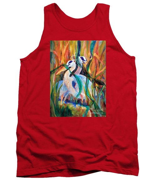 Egrets In Red 2            Tank Top