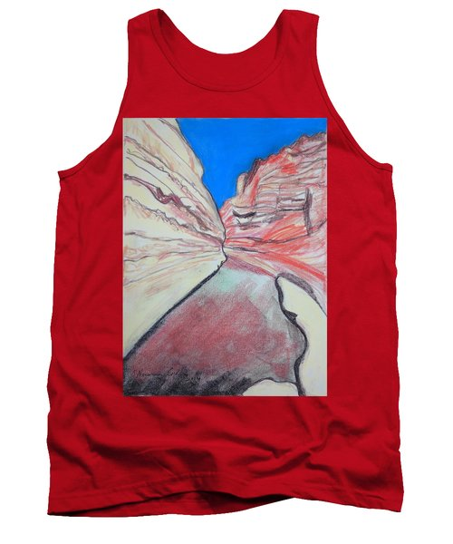 Tank Top featuring the drawing Ein Avdat  by Esther Newman-Cohen