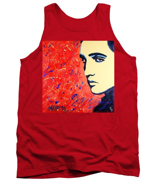 Tank Top featuring the painting Elvis Presley - Red Blue Drip by Bob Baker