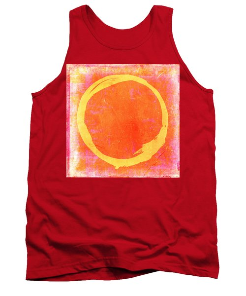 Enso No. 109 Yellow On Pink And Orange Tank Top