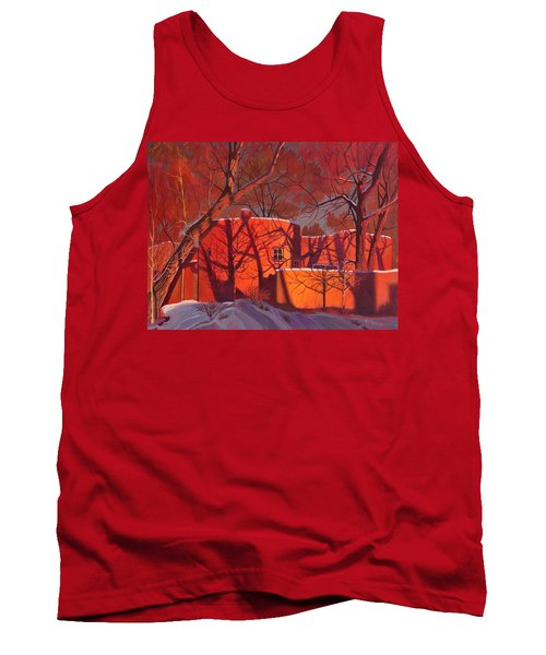 Evening Shadows On A Round Taos House Tank Top by Art James West