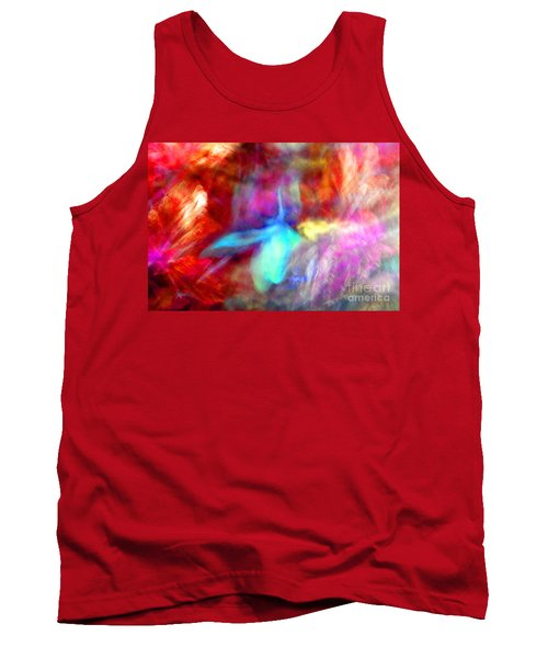 Falling Petal Abstract Red Magenta And Blue B Tank Top by Heather Kirk