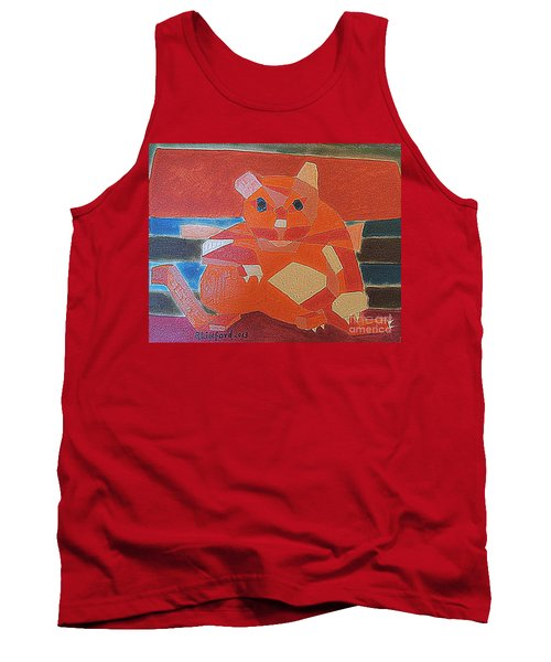 Tank Top featuring the painting Fat Cat On A Hot Chaise Lounge by Richard W Linford