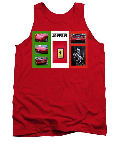 Ferrari Collage On Italian Flag Tank Top