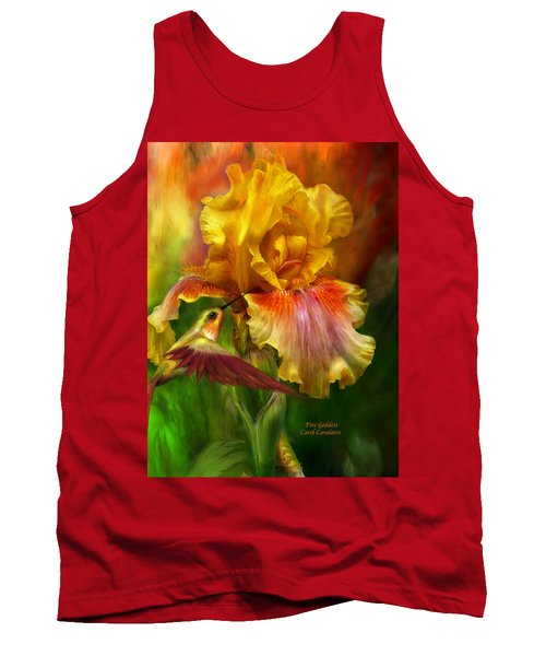 Tank Top featuring the mixed media Fire Goddess by Carol Cavalaris