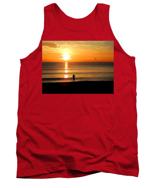 Fishing At Sunrise Tank Top