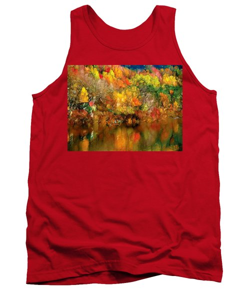 Flaming Autumn Abstract Tank Top