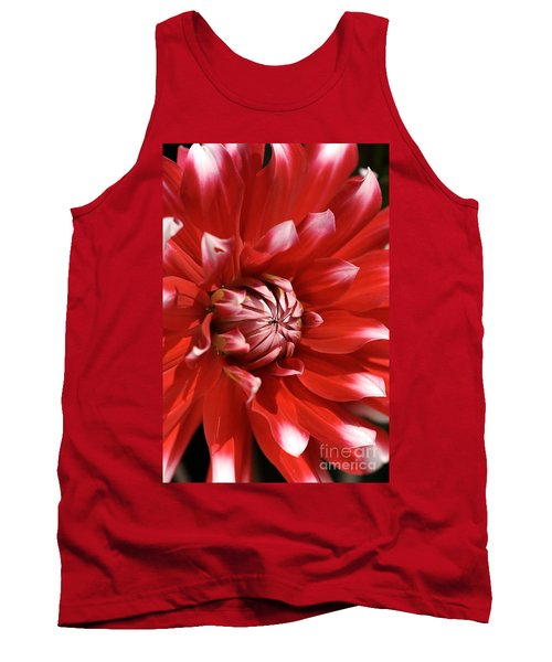 Flower- Dahlia-red-white Tank Top
