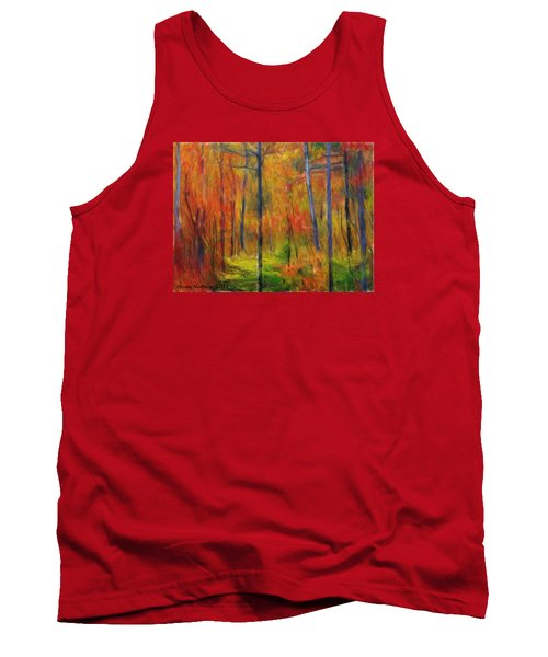 Tank Top featuring the painting Forest In The Fall by Bruce Nutting