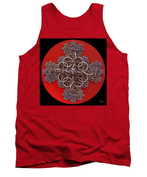 Tank Top featuring the digital art Fractal Cruciform by Manny Lorenzo