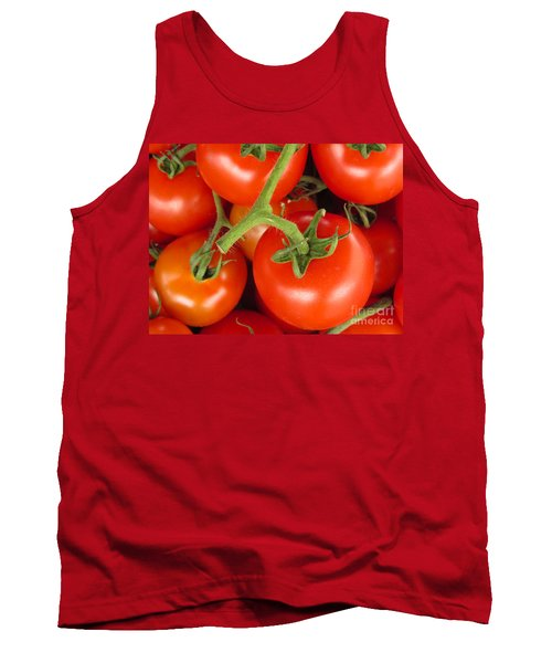 Tank Top featuring the photograph Fresh Whole Tomatos On Vine by David Millenheft