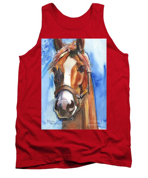 Horse Painting Of California Chrome Go Chrome Tank Top by Maria's Watercolor
