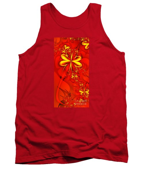 Gold Flowers Tank Top by Lena Auxier