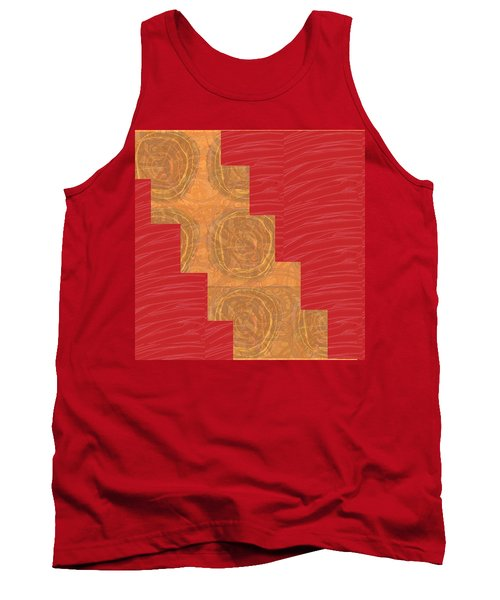 Golden Circles Red Sparkle  Tank Top by Navin Joshi
