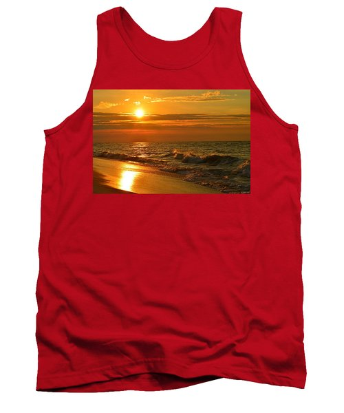 Golden Sunrise Colors With Waves And Horizon Clouds On Navarre Beach Tank Top by Jeff at JSJ Photography