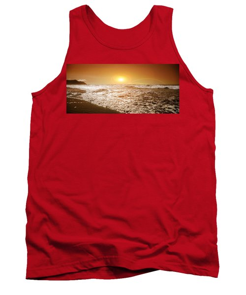 Ocean Tank Top featuring the photograph Golden Sunset by Aaron Berg