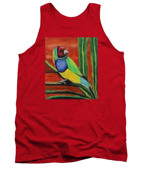 Tank Top featuring the painting Gouldian Finch by Jeanne Fischer