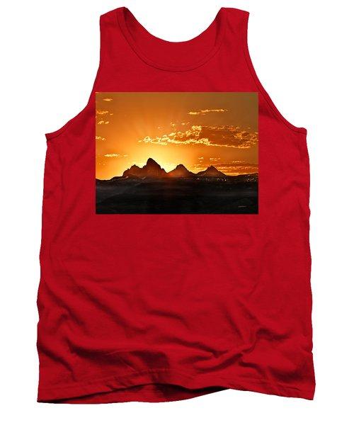 Grand Teton Sunrise Tank Top by Leland D Howard