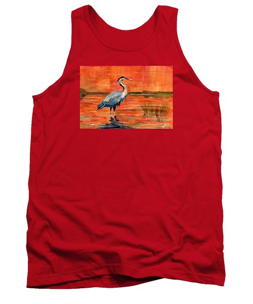 Great Blue Heron In Marsh Tank Top