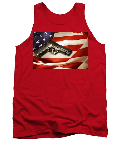 Gun On Flag Tank Top by Les Cunliffe