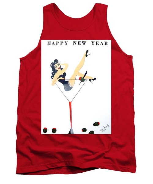 Tank Top featuring the painting Happy New Year by Nora Shepley