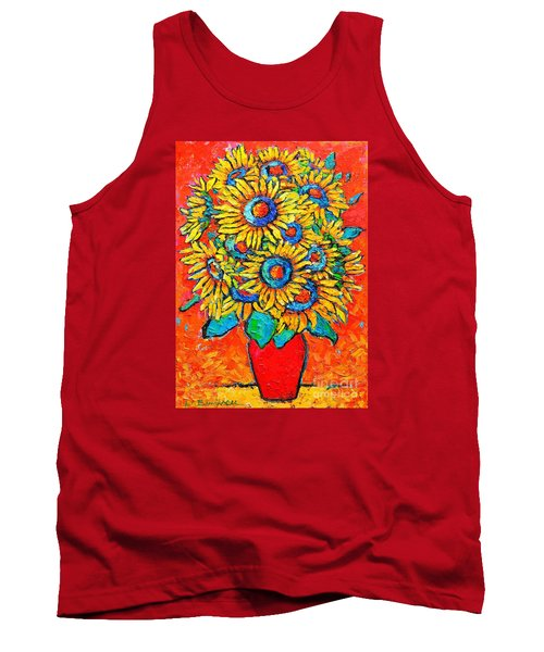 Happy Sunflowers Tank Top by Ana Maria Edulescu