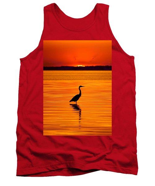 Heron With Burnt Sienna Sunset Tank Top