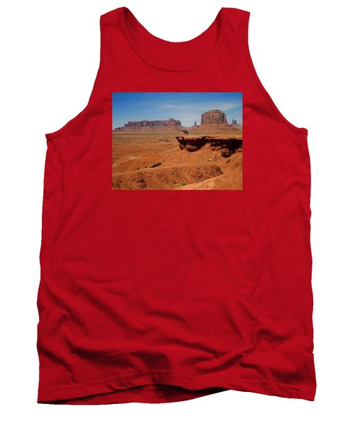 Horse And Rider In Monument Valley Tank Top