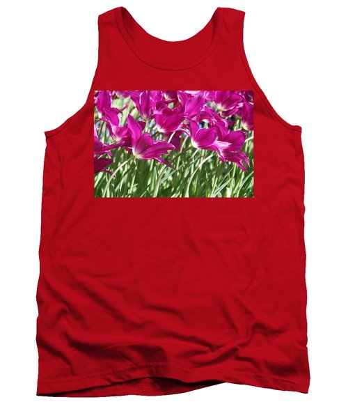 Tank Top featuring the photograph Hot Pink Tulips 2 by Allen Beatty