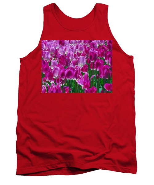 Hot Pink Tulips 3 Tank Top by Allen Beatty