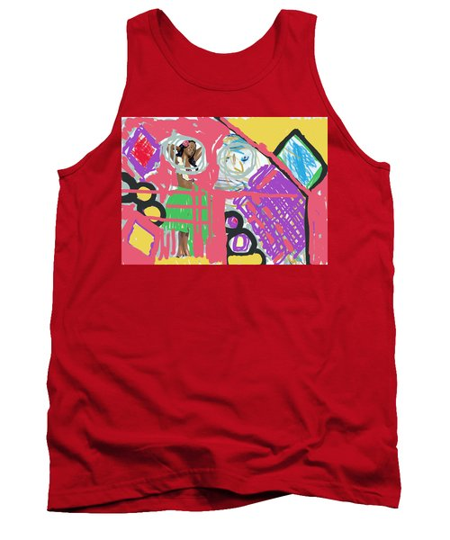 Hula Girl Under Paint Tank Top by Susan Stone