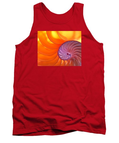 Illuminated Translucent Nautilus Shell With Spiral Tank Top by Phil Cardamone