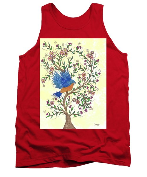 Tank Top featuring the painting In The Garden - Bluebird by Susie WEBER