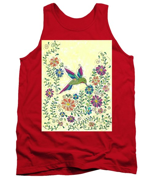 Tank Top featuring the painting In The Garden - Hummer by Susie WEBER