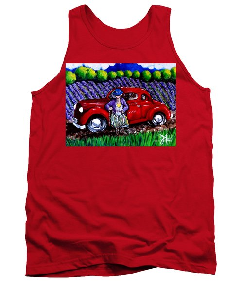 Tank Top featuring the painting J. C. 1931 Fishing In Red by Jackie Carpenter