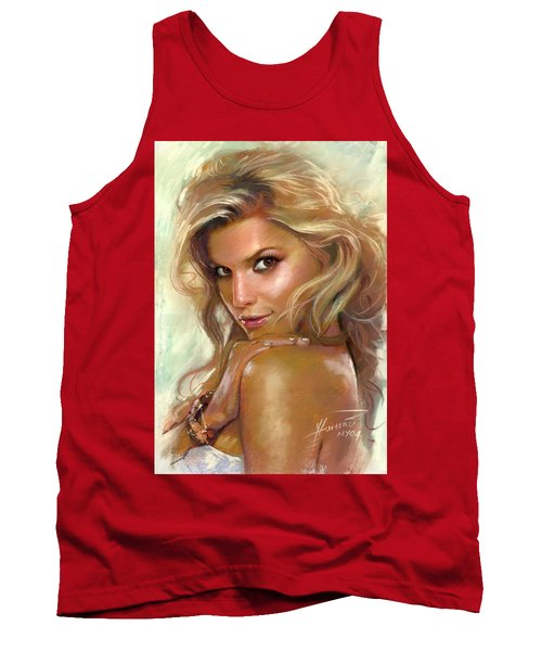 Tank Top featuring the drawing Jessica Simpson by Viola El