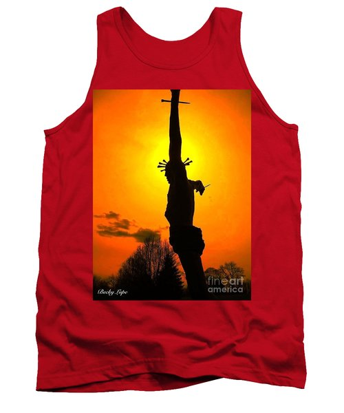Jesus In Sunset 1 Hope Tank Top by Becky Lupe