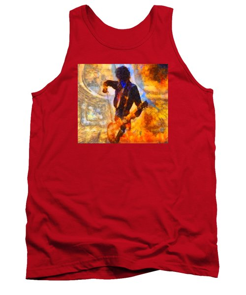 Jimmy Page Playing Guitar With Bow Tank Top by Dan Sproul