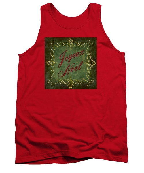 Tank Top featuring the digital art Joyeux Noel In Green And Red by Caitlyn  Grasso