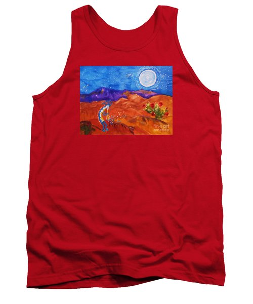 Kokopelli Playing To The Moon Tank Top by Ellen Levinson