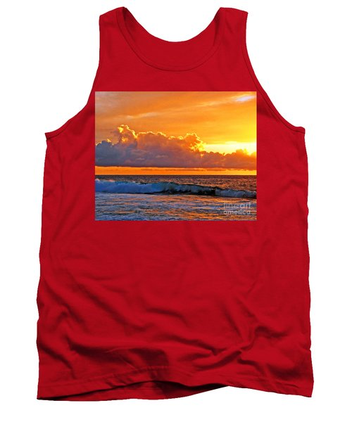 Tank Top featuring the photograph Kona Golden Sunset by David Lawson