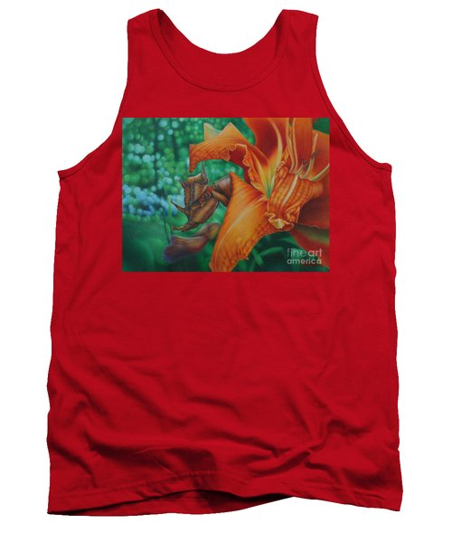 Tank Top featuring the painting Lily's Evening by Pamela Clements