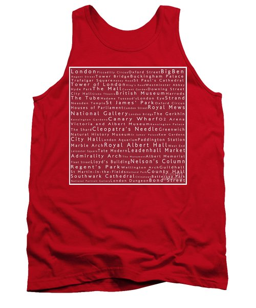 London In Words Red Tank Top by Sabine Jacobs
