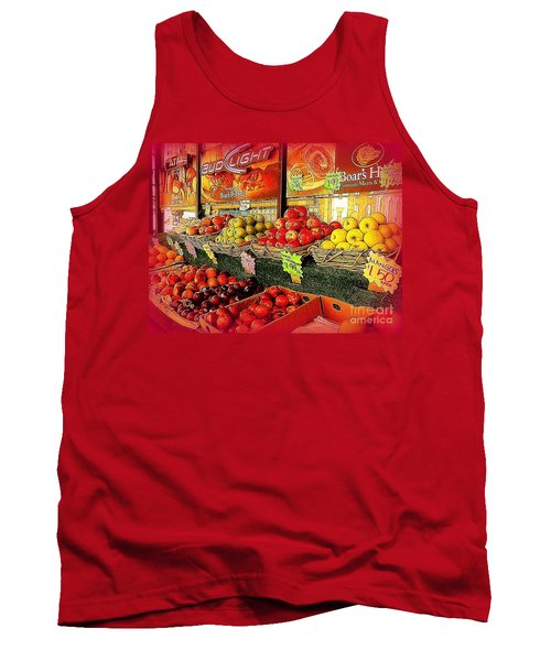 Tank Top featuring the photograph Apples And Plums In Red - Outdoor Markets Of New York City by Miriam Danar